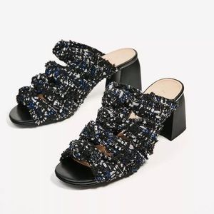 Zara Knotted Tweed Special Edition Chunky Mules
